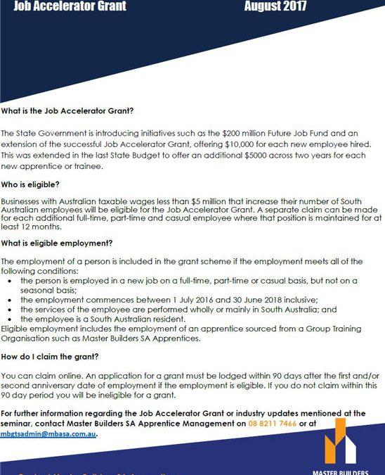 Fact Sheet – Job Accelerator Grant